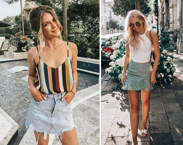 Καλοκαιρινοί συνδυασμοί με κοντή φούστα