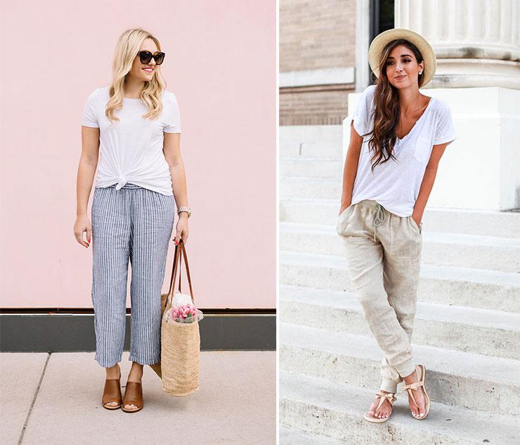 Ντύσιμο με λινό παντελόνι και λευκό T-shirt