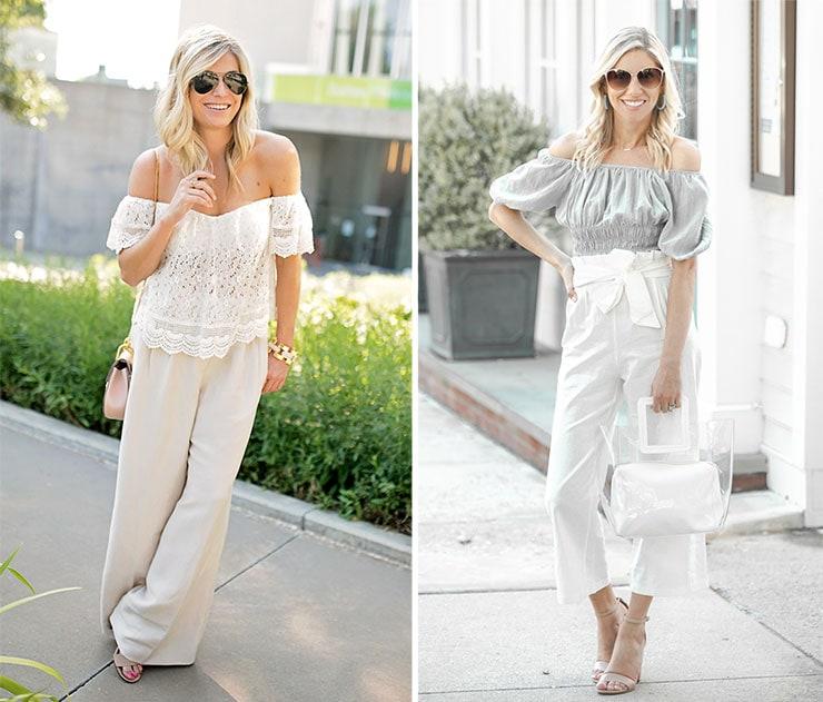 Ντυσίματα με λινό παντελόνι και μπλούζα με έξω τους ώμους
