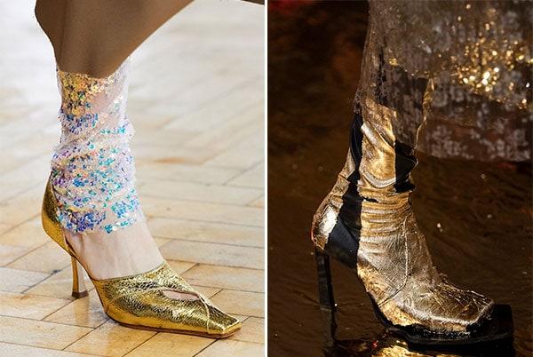 Μπότες και παπούτσια σε χρυσό χρώμα