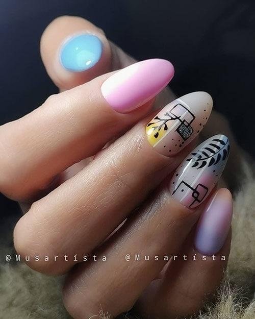 Ροζ γαλάζια νύχια με γραμμικά σχέδια