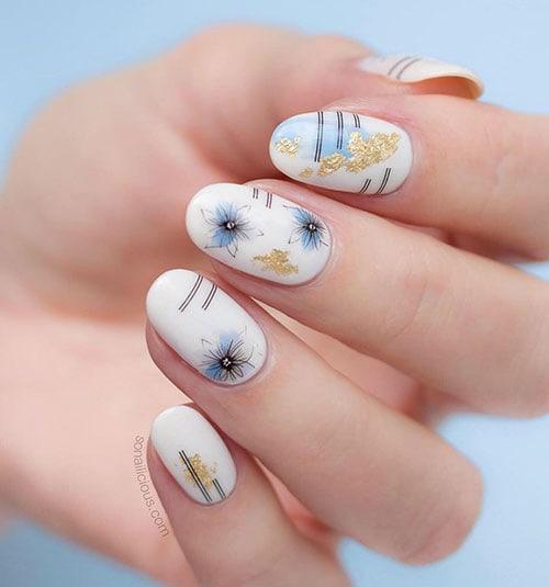 Άσπρα floral summer nails