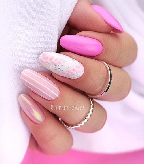 Ροζ summer nails με λουλούδια και γραμμές
