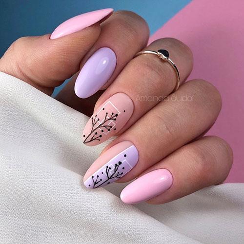 Λιλά ροζ γραμμικά σχέδια νυχιών