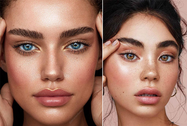 Highlighting για φυσικό makeup με λαμπερή επιδερμίδα