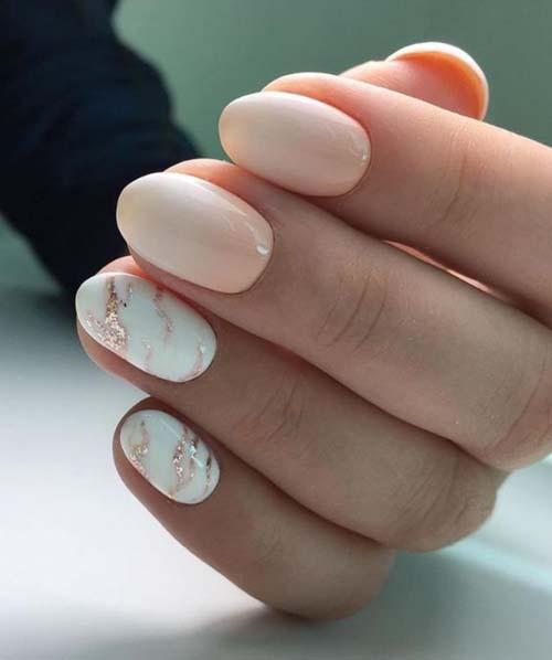 Ροζ νύχια με σχέδιο μαρμάρου