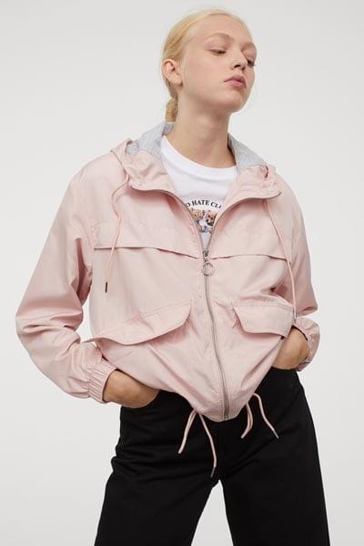 Αντιανεμικό ροζ μπουφάν με κουκούλα - H&M