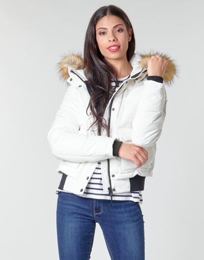Αθλητικό λευκό μπουφάν Everest με γούνα - Superdry