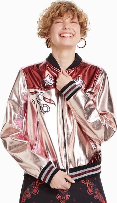 Bomber jacket σε ροζ μπορντό μεταλλιζέ χρώμα - Desigual