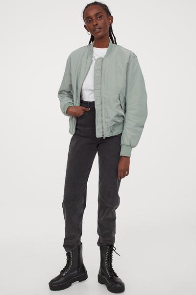 Φιστικί bomber jacket με τσέπες - H&M