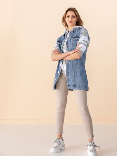 Αμάνικο μακρύ oversized τζιν γιλέκο - the fashion project