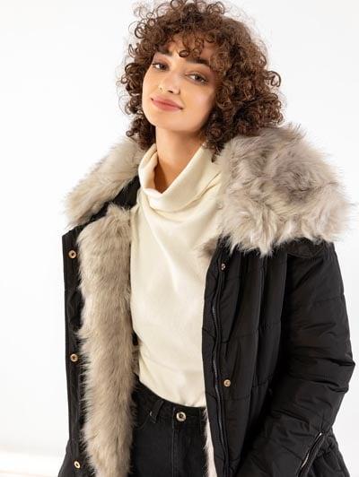 Καπιτονέ μπουφάν με γούνα - the fashion project