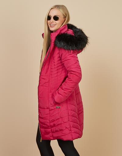 Φούξια μακρύ μπουφάν με κουκούλα και γούνα - Lynne