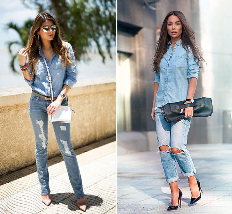 Trendy total denim outfits με τζιν πουκάμισο
