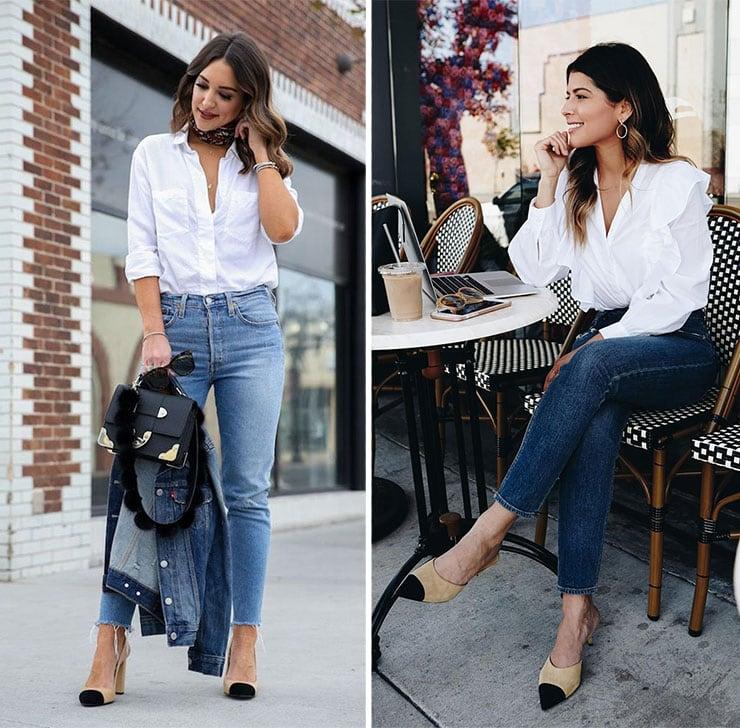 Κλασσικά σύνολα με τζιν παντελόνι και λευκό πουκάμισο