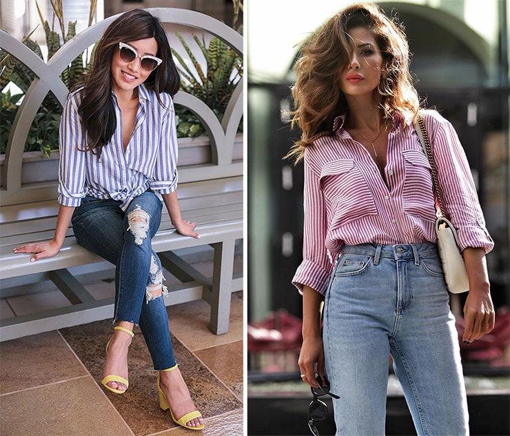 Κομψά ντυσίματα με ριγέ πουκάμισο και jean