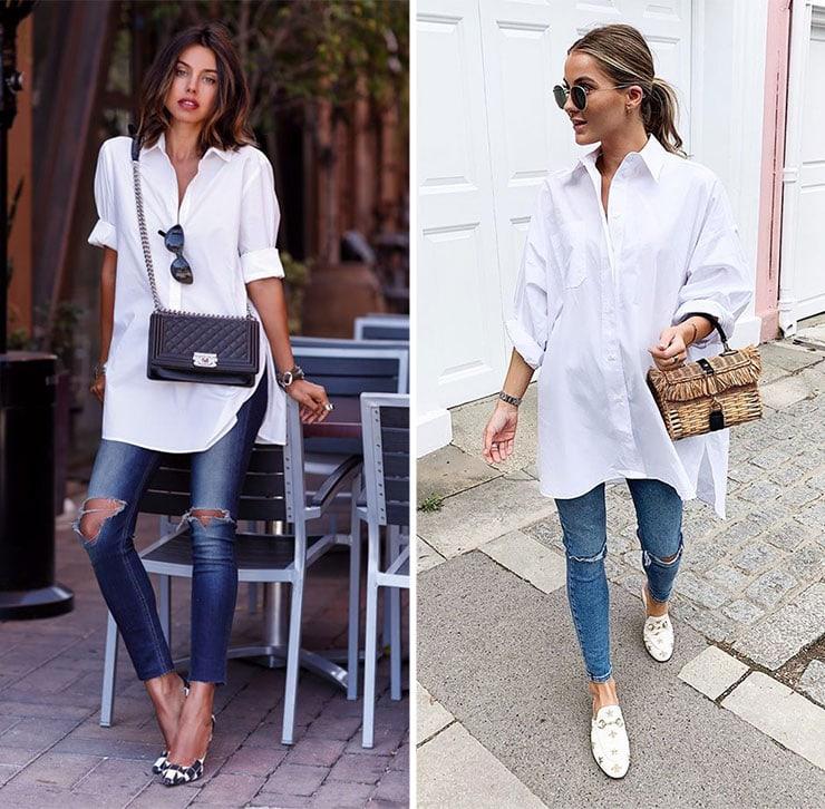 Oversized λευκό πουκάμισο και denim παντελόνι