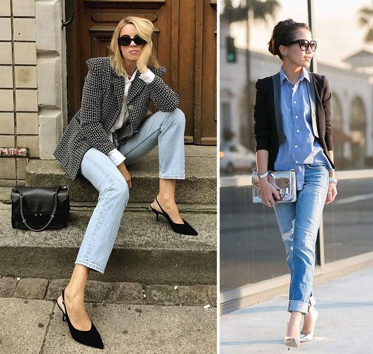 Chic συνδυασμοί με σακάκι, γυναικείο πουκάμισο και τζιν παντελόνι
