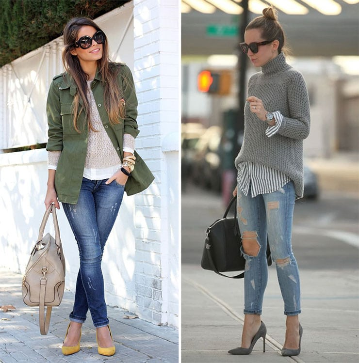 Cozy σύνολα με τζιν παντελόνι, πουλόβερ και πουκάμισο από μέσα