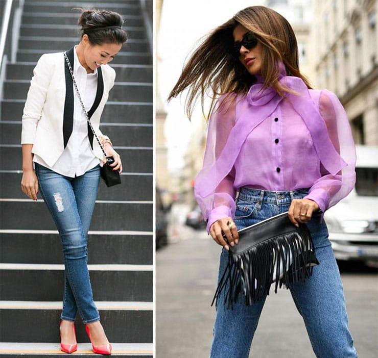 Βραδινοί συνδυασμοί με γυναικείο πουκάμισο και τζιν παντελόνι