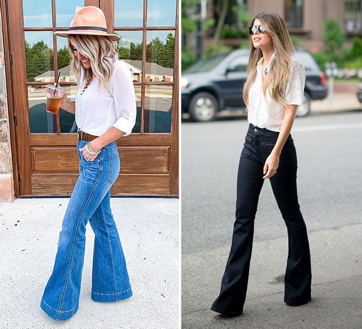 Μοντέρνα outfit με τζιν παντελόνι καμπάνα και πουκάμισο