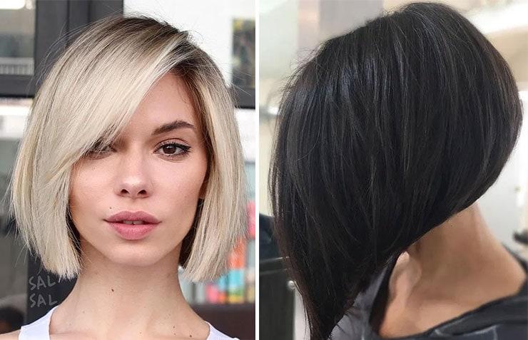 Ασύμμετρο καρέ  ή A-line bob κουρέματα για ίσια μαλλιά