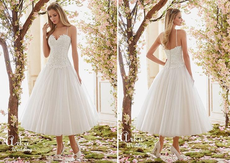 Κοντό νυφικό με τούλινη φούστα - Arka Wedding