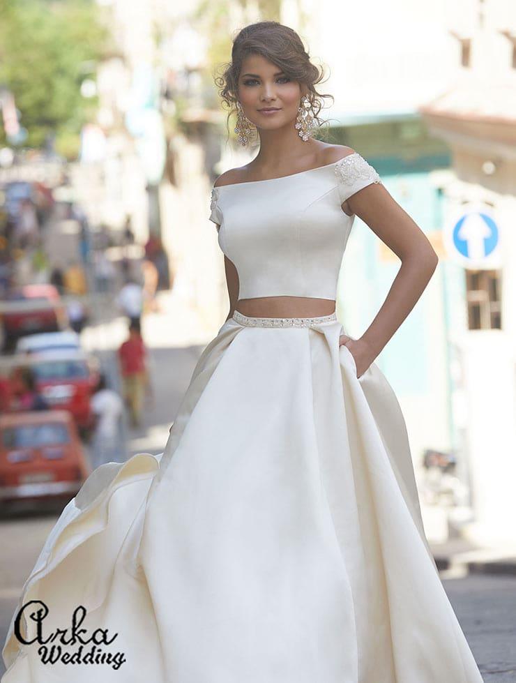 Σατέν νυφικό με τοπ και φούστα - Arka Wedding