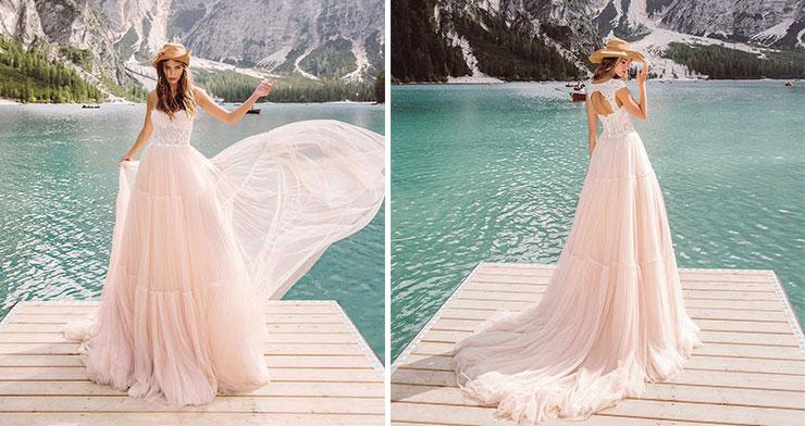 Ροζ boho νυφικό φόρεμα - Porra Wedding