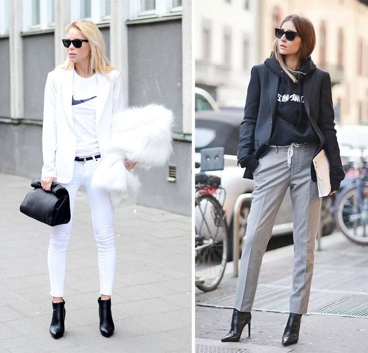 Sporty chic street style outfit με σακάκι και μποτάκια