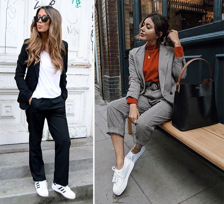Κομψό ντύσιμο με γυναικείο κοστούμι και sneakers