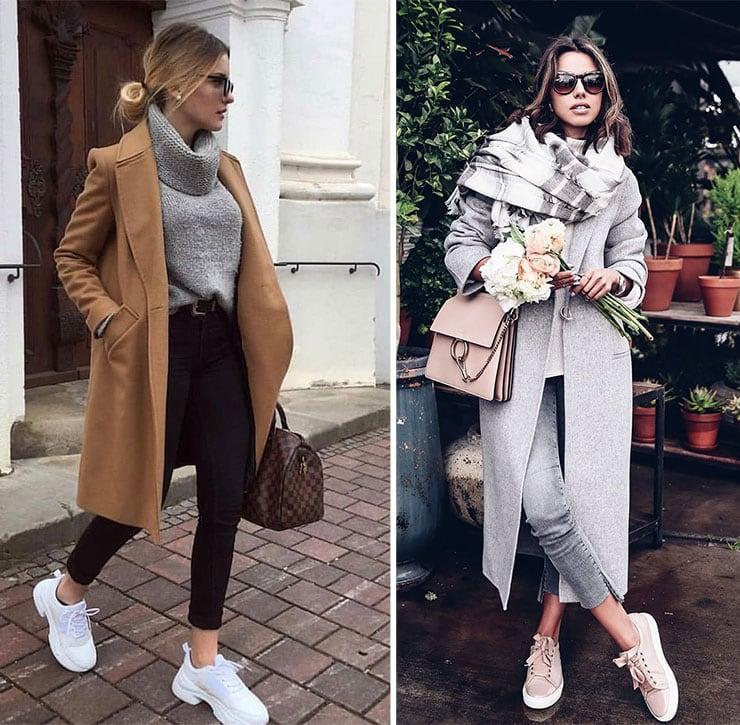 Χειμωνιάτικο sporty street style σύνολο με παλτό και πουλόβερ