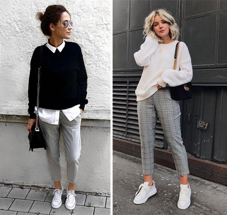 Chic ντύσιμο με υφασμάτινο παντελόνι, πουλόβερ και αθλητικά