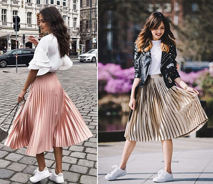 Sporty chic street style outfit με πλισέ φούστα και sneakers