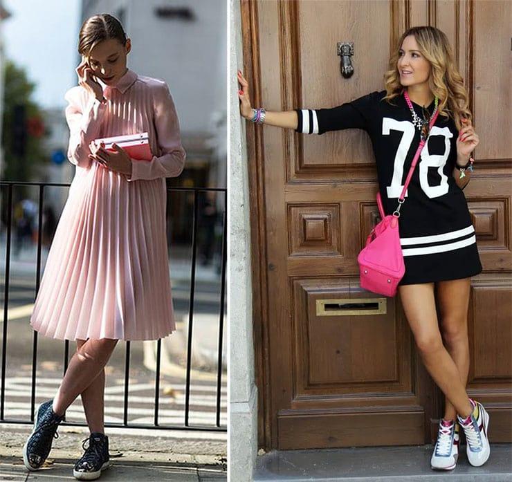 Αθλητικοί συνδυασμοί με φόρεμα και sneakers