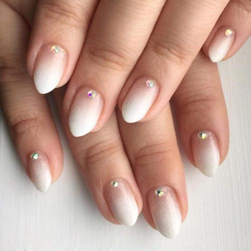 Ombre french nails με strass