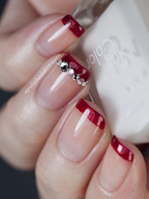 Κόκκινο french nails με strass