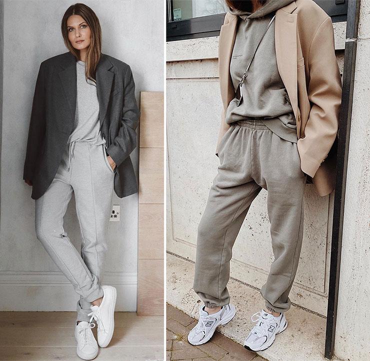 Στυλάτο casual outfit με σετ φόρμας και σακάκι