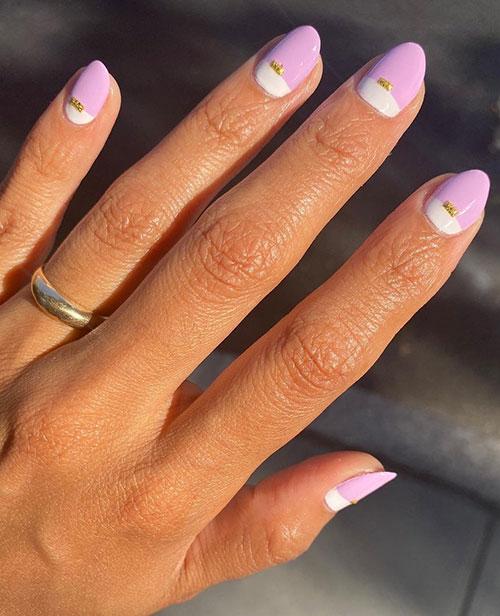 Ροζ - λευκό δίχρωμο μανικιούρ με γραμμή