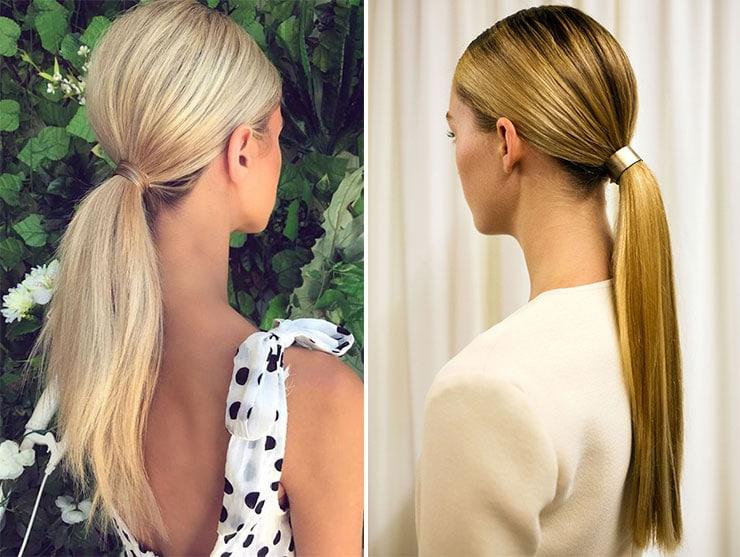 Απλή χαμηλή sleek ponytail
