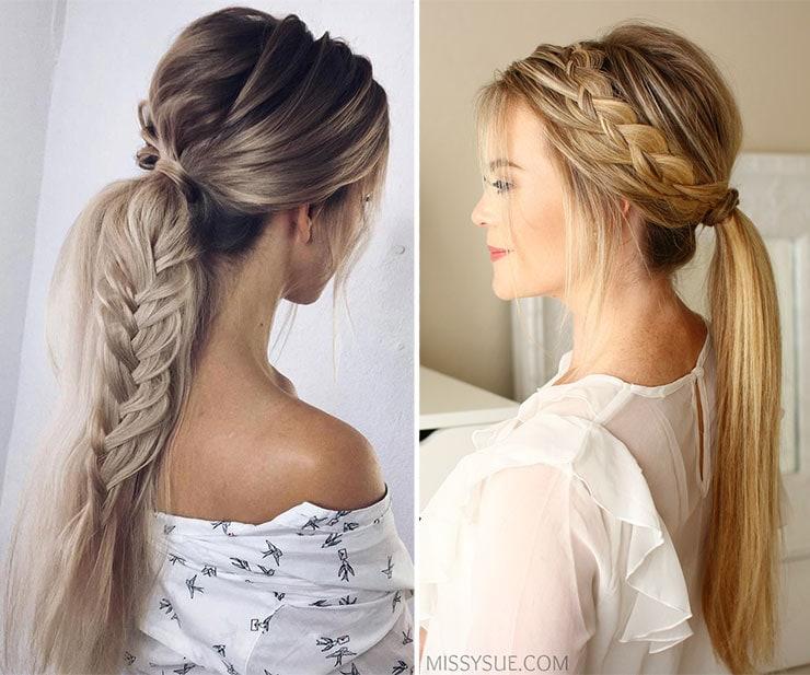 Χαμηλά πρακτικά ponytails με πλεξούδα