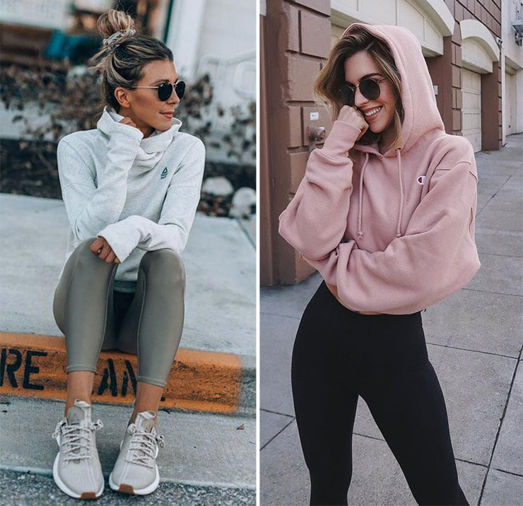 Sporty outfit με κολάν και φούτερ
