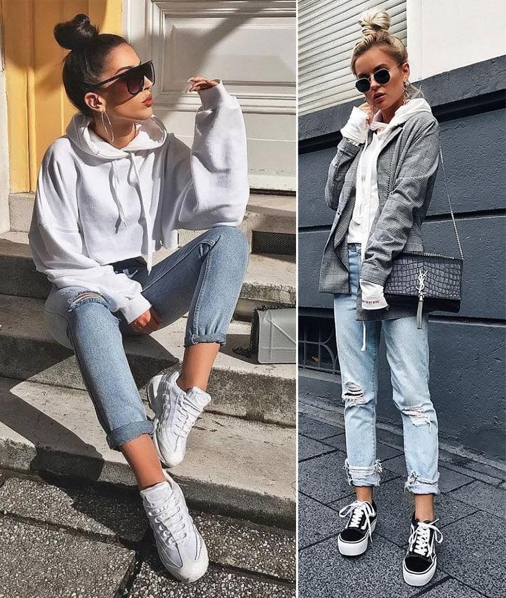 Trendy ντύσιμο με τζιν και φούτερ