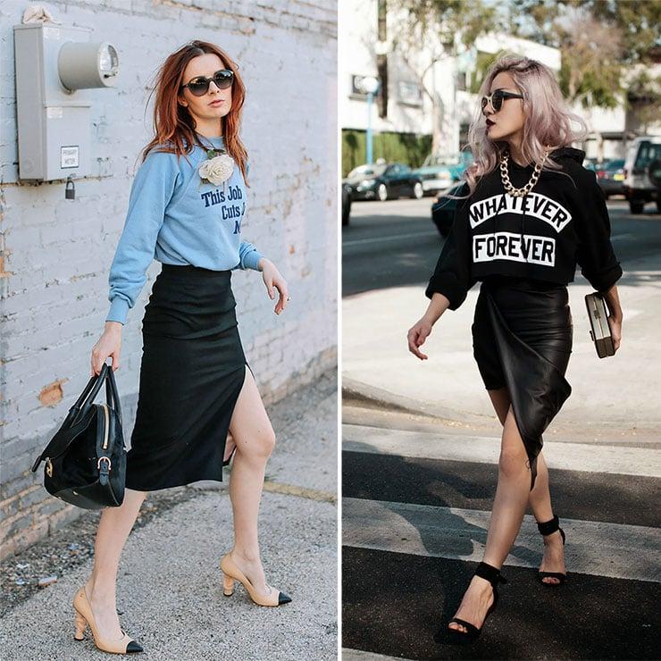 Θηλυκά outfits με hoodies και φούστα