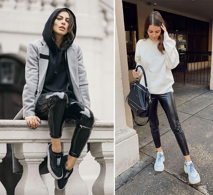 Συνδυασμοί με δερμάτινο ή βινύλ κολάν και hoodies