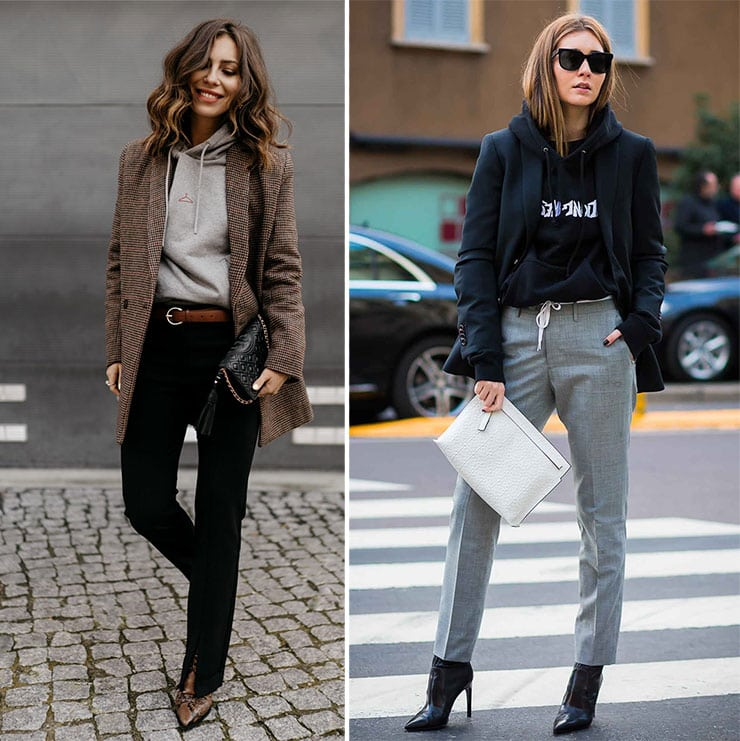 Casual chic outfits με σακάκι, hoodies και παντελόνι