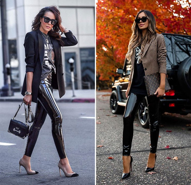 Rock chic style outfit με σακάκι και βινύλ κολάν
