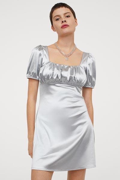 Ασημί μίνι φόρεμα με φουσκωτά κοντά μανίκια και τετράγωνη λαιμόκοψη - H&M