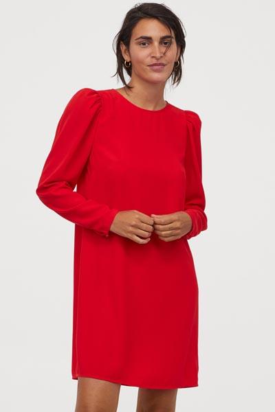 Κοντό κόκκινο φόρεμα με φουσκωτά μανίκια σε ίσια γραμμή - H&M