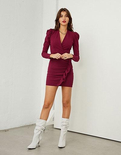 Mini εφαρμοστό μπορντό φόρεμα με βολάν, φουσκωτά μανίκια και βάτες - BSB